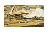Boats and Logs Giclee Print by Tito Conti