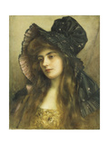 A Young Beauty in a Black Hat Giclee Print by Albert Lynch