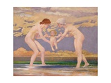 The Water's Edge: Two Women and a Baby Giclee Print by Charles Sims
