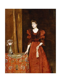 Elegant Lady Holding a Fan, 1893 Giclee Print by Alfred Emile Stevens