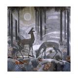 Two Deer in a Forest, C.1929 Giclee-trykk av Jean Dunand