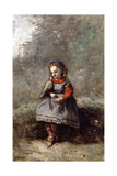 Mlle. Leotine Desavary Holding a Dove, 1872 Giclee Print by Jean-Baptiste-Camille Corot