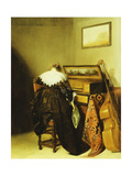 A Seated Lady Seen from Behind before a Virginal Giclee Print by Pieter Codde