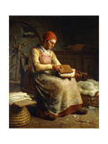Woman Carding Wool Giclee Print by Jean-François Millet