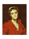 The Red Gown Giclee Print by William Merritt Chase