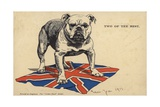 British Bulldog Standing on the Union Flag Giclee Print
