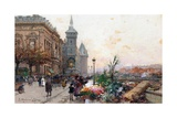 The Flower Market, Paris Reproduction procédé giclée par Eugene Galien-Laloue