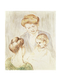 Smiling Baby with Two Girls Giclee Print by Mary Cassatt