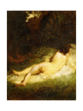 A Sleeping Nymph Blocked by a Satyr, C.1846-47 Giclee Print by Jean-François Millet