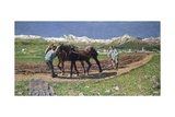 Ploughing, 1887-90 Giclee Print by Giovanni Segantini