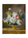 Flowers in a Blue Vase, 1782 Giclee Print by Anne Vallayer-coster