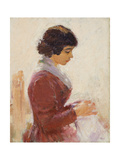 Girl in Red, Sewing Giclee Print by Theodore Robinson