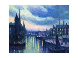 The Port of Rotterdam at Night, 1908 Giclee Print by Maximilien Luce