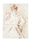 Portrait of Madame Helleu, Reading Giclee Print by Paul Cesar Helleu