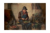 Old Man Shelling Peas, C.1880 Giclee Print by Hermann Kern