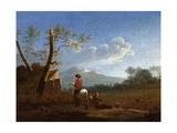 Landscape with Bird Catchers, C.1670 Giclee Print by Karel Dujardin