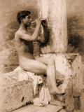 Study of a Boy Playing a Flute, C.1900 Photographic Print by Wilhelm Von Gloeden