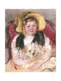 Sara with Her Dog in an Armchair, 1901 Giclee Print by Mary Cassatt