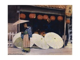 Umbrellas and Commerce Giclee Print by Mortimer Ludington Menpes