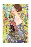 Lady with a Fan, 1917-18 Giclée-tryk af Gustav Klimt