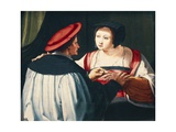 The Engagement, 1527 Giclee Print by Lucas van Leyden