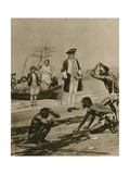 How Captain Cook Was Welcomed in Tasmania Giclee Print by Richard Caton Woodville II