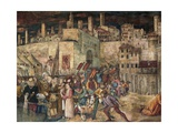 Siege of Totila, Fresco Giclee Print by Benedetto Bonfigli