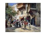 Oriental Street with Donkeys Giclee Print by Frederick Arthur Bridgman