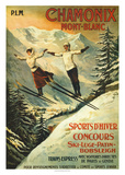 Reclameposter Chamonix, met Franse tekst Poster van Francisco Tamagno