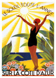 Le soleil toute l'année sur la Côte d'Azur Affiches par Roger Broders