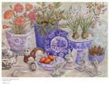 Composition de porcelaine bleue Poster par Barbara Van Winkelen