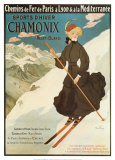 Sport invernali a Chamonix Poster di Abel Faivre