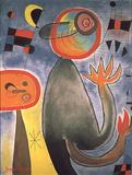 Le scale attraversano l'azzurro come ruote di fuoco Arte di Joan Miró
