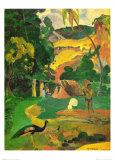 Landschaft mit Pfauen (Matamoe) Kunstdruck von Paul Gauguin
