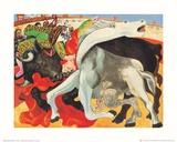 The Bullfight (gold foil text) Lámina por Pablo Picasso