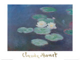 Water Lilies by Nightfall Posters by Claude Monet