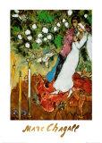 Tre candele Poster di Marc Chagall