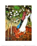 Drie Kaarsen Print van Marc Chagall