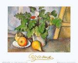 Stillleben mit Geranienstock und Birnen Poster von Paul Cézanne