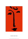 Visage sur fond rouge Sérigraphie par Henri Matisse