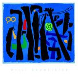 Bewegte Vertikalen Auf Blau, c.1953 Serigraph by Willi Baumeister