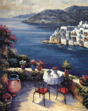 Mediterranean Vistas w Black Chairs Posters by John Zaccheo
