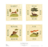 Four Woodland Animals Posters by Irene Kirilloff