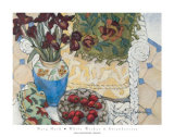 White Wicker and Strawberries Posters by Mary Mark