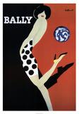 Schoenenreclame, vrouw met bal, Bally Poster van Bernard Villemot