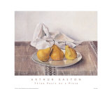 Three Pears on a Plate Art by Arthur Easton