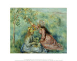 Girls Picking Flowers in a Meadow Posters by Pierre-Auguste Renoir