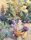Basket with Flowers Print by Edward Noott