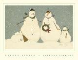 Famille de bonhommes de neige Poster par Warren Kimble