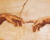 Skabelsen af Adam, ca. 1510 (detaljer) Plakat af Michelangelo Buonarroti,